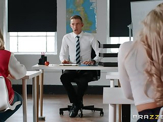 Sexy play in class close by four truly horny partisan