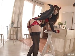 Kinky Japanese girlfriend Ootori Kaname gets fucked from behind