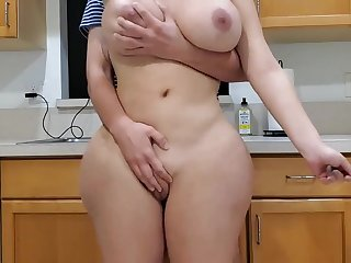 Scorching materfamilias and sonny in kitchenette