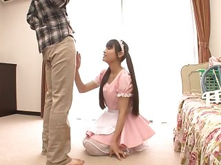 Two guys with stiff dicks fuck attractive Japanese maid Ai Nikaido