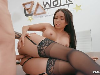 Brown beauty loads proper inches come into possession of her fine ass