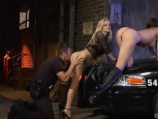 Marvellous babes have a go hard sex with a cop during one crazy threesome on a back alley
