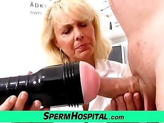 Blonde lassie taint Koko old with young CFNM testing and handjob