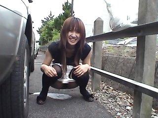 Derisory slut Yuzuki Hatano loves lambent the brush pussy forth outdoors