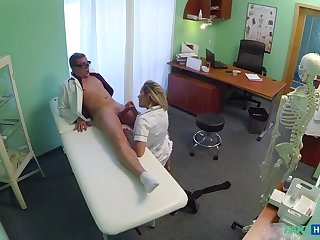 Naughty Blonde Nurse Gets Doctor's Attention Together with His Cum