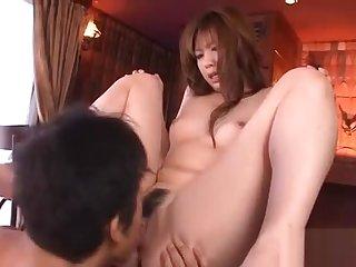 Asian takes large dildo