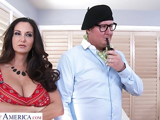 Shafting on the bed with large boobs housewife Ava Addams. HD