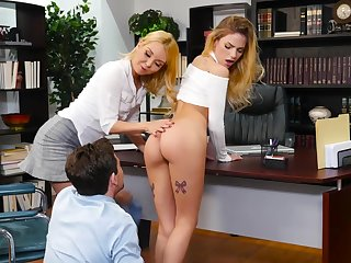 Two babes Aaliyah Love added to Sydney Cole fuck one guy in the office