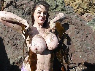Chubby Naturals - Lana Kendrick Muddy Mermaid - monster titties in outdoor fetish movie