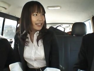 Closeup pellicle of sexy Kasumi Uemura having sex in be transferred to car. HD