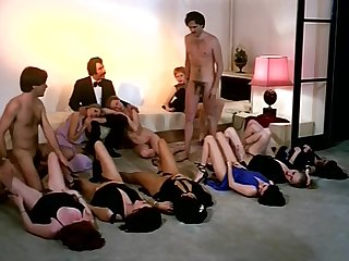 Vintage sex orgy action near sizzling company of girls