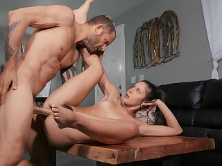 Tight beauty works magic with her hairy little cunt
