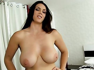 Sensual dark-haired down fat funbags, Alison Tyler luvs beside deep-throat meatpipe and taste some new jizm