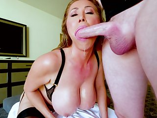 Kianna Dior is on the brush knees blowing and waiting for strong facial