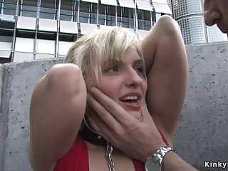 Blond Hair Pamper groped and screwed open-air