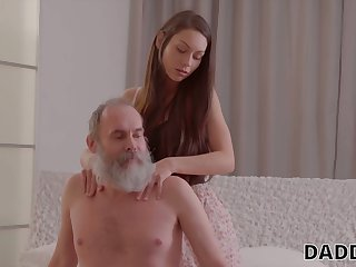 Naughty girlfriend is big Chief on her boyfriend in the air his old step daddy
