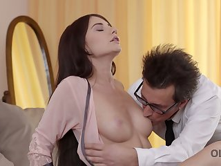Beautiful young nextdoor mollycoddle Lana Ray is congress love with experienced man