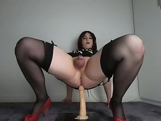 Coward Crossdresser Lizzy Rides sex toy And leaks spooge Handsfree