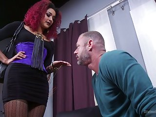 Cruel mistress Dilly Ducatiputs on strapon with the addition of fucks submissive dude