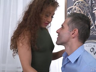 Curly chick Melody Petite gives a deepthroat blowjob and gets a mouthful be expeditious for cum