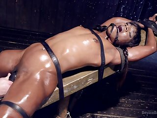 Tied up infinitesimal black ungentlemanly Ana Foxxx gets her pussy pleasured