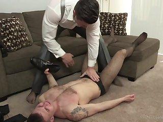 Dominant guy ass fucks gay lover at his office