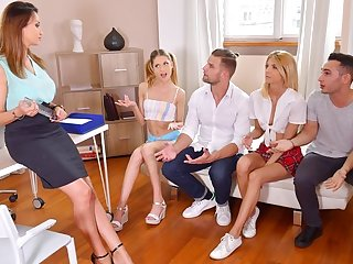 A difficulty teacher and students participated in an Orgy and we fucked heartil...