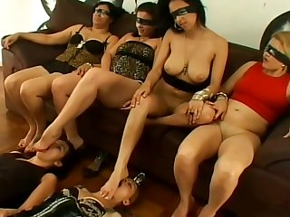 Curvy Brazilian mistresses getting their feet respected and licked outside at the end of one's tether female foot slaves