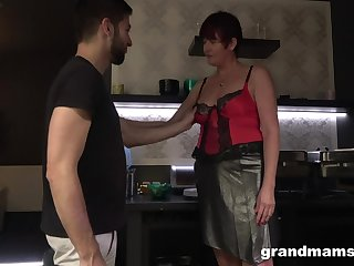 Hot nextdoor granny turned to view with horror a blowjob expert and hoggish age-old whore