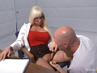 Horny blonde Rikki Six takes a dick in her mouth increased by hallow tube